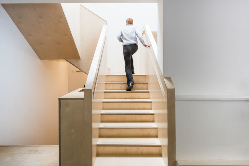 Bespoke plywood staircase for Feilden Clegg Bradley completed by Magic Projects: www.magicprojects.co.uk